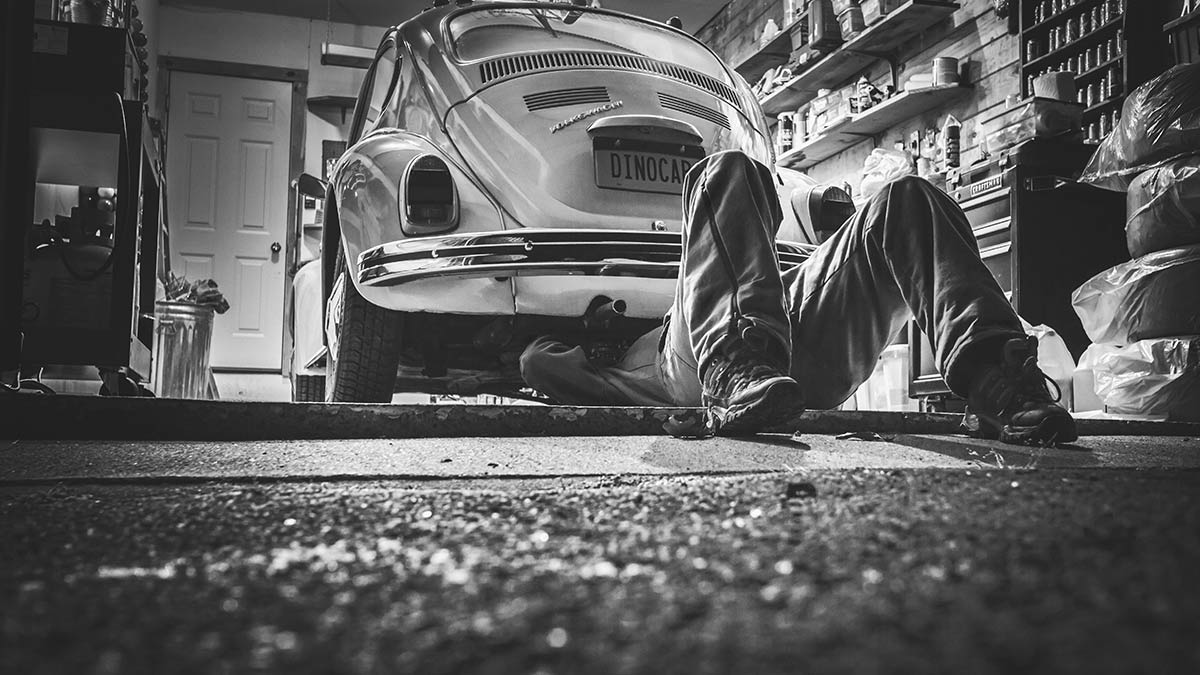 Black and White Car Repairing